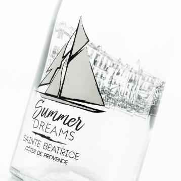 Bouteille avec décor voilier et texte Summer Dreams