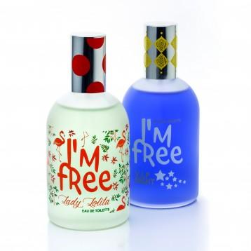 Flacon parfum I'M FREE décoré en sérigraphie
