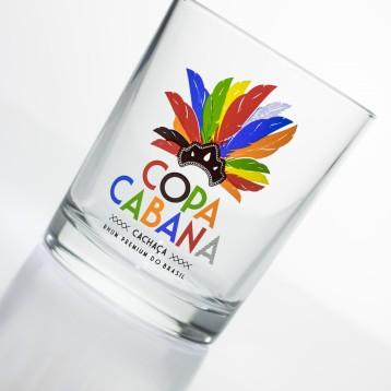 Verre COPA CABANA avec décor plumes colorées